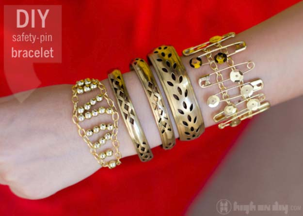 Fun DIY Jewelry Ideas | Cool Homemade Jewelry Tutorials for Adults and Teens | Awesome Bracelets, Necklaces, Earrings and Accessories You Can Make At Home | Safety Pin and Sequin Bracelet | http://diyprojectsforteens.com/fun-diy-jewelry-ideas-for-teens