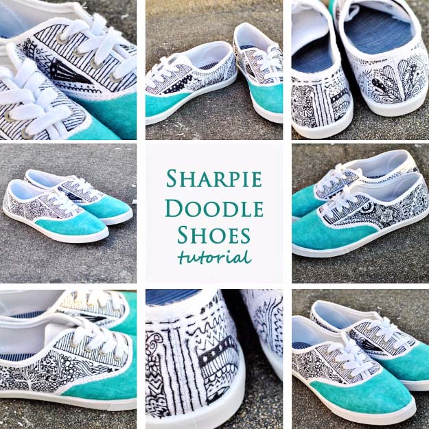 Cool DIY Fashion Ideas | Fun Do It Yourself Fashion projects | Learn how to refashion and sew jeans, T-shirts, skirts, and more | Sharpie Doodle Shoes | http://diyprojectsforteens.com/cool-diy-fashion-ideas/
