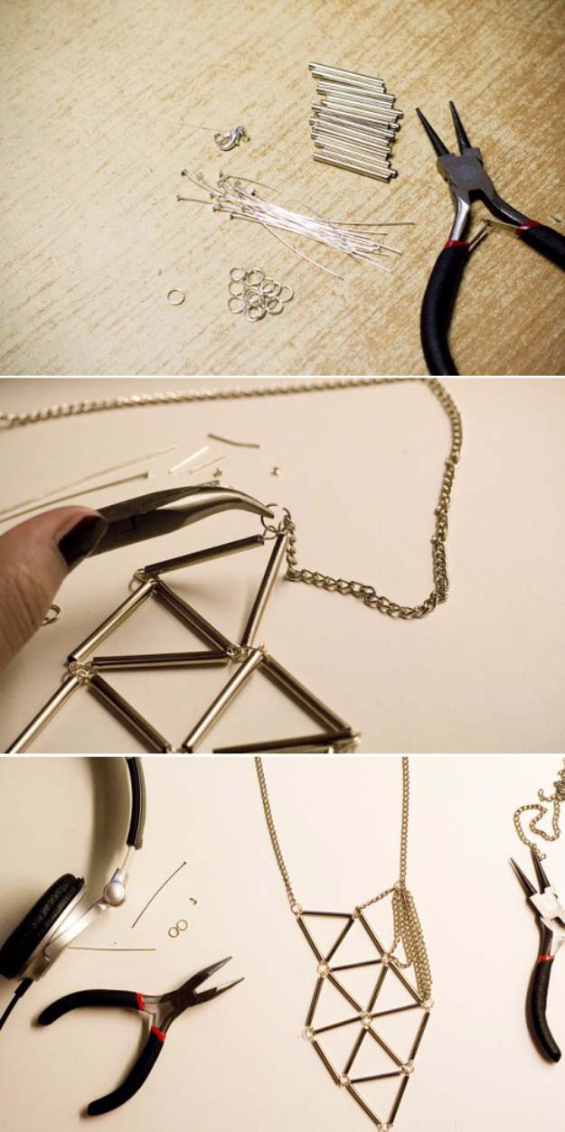 Fun DIY Jewelry Ideas | Cool Homemade Jewelry Tutorials for Adults and Teens | Awesome Bracelets, Necklaces, Earrings and Accessories You Can Make At Home | Silver Bugle Geometric Necklace | http://diyprojectsforteens.com/fun-diy-jewelry-ideas-for-teens