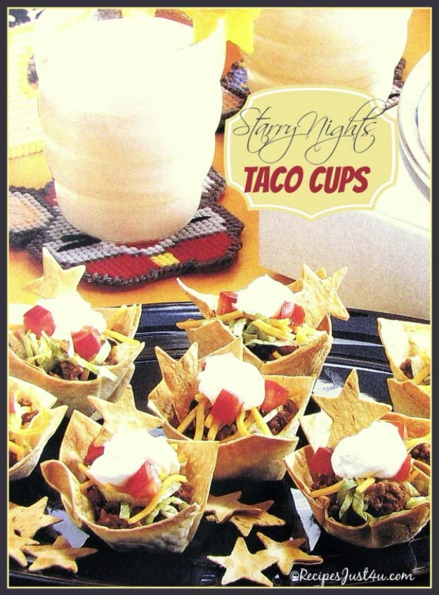 34 Fun Foods for Kids & Teens | Cool and Easy Recipes for Kids & Teenagers to Make At Home | Slumber Party Starry Night Taco Cups | http://diyprojectsforteens.com/fun-foods-for-teens-kids