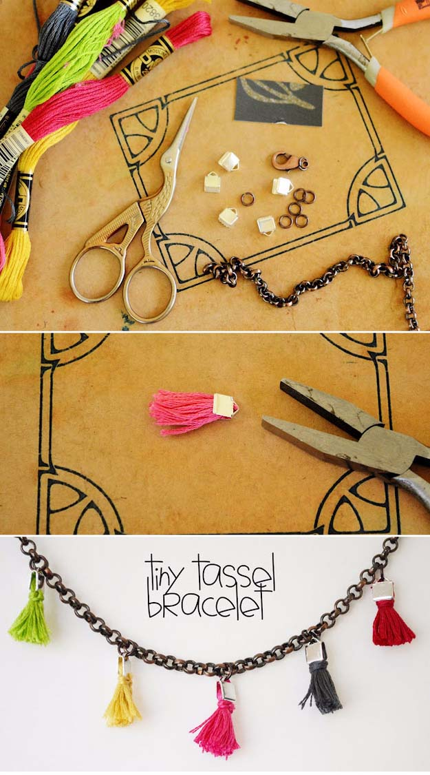 Fun DIY Jewelry Ideas | Cool Homemade Jewelry Tutorials for Adults and Teens | Awesome Bracelets, Necklaces, Earrings and Accessories You Can Make At Home | Tiny Tassel Bracelet