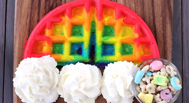 34 Fun Foods for Kids & Teens | Cool and Easy Recipes for Kids & Teenagers to Make At Home | Waffle Iron Rainbow Waffles | http://diyprojectsforteens.com/fun-foods-for-teens-kids