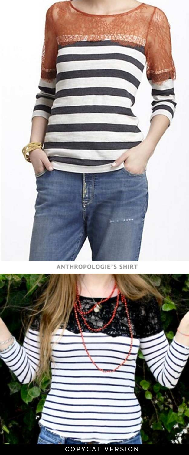 Cool DIY Fashion Ideas | Fun Do It Yourself Fashion projects | Learn how to refashion and sew jeans, T-shirts, skirts, and more | DIY Anthropologie Shirt Tutorial | http://diyprojectsforteens.com/cool-diy-fashion-ideas/