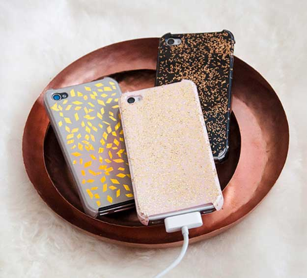 Cool DIY Ideas for Your iPhone iPad Tablets & Phones | Fun Projects for Chargers, Cases and Headphones | Design Sponge Glitter | http://diyprojectsforteens.com/diy-projects-iphone-ipad-phone/
