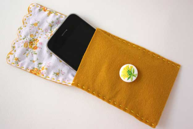 Cool DIY Ideas for Your iPhone iPad Tablets & Phones | Fun Projects for Chargers, Cases and Headphones | Fabric Button | http://diyprojectsforteens.com/diy-projects-iphone-ipad-phone/