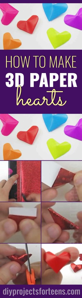 Cool Arts and Crafts Ideas for Teens, Kids and Even Adults | Cheap, Fun and Easy DIY Projects, Awesome Craft Tutorials for Teenagers | School, Home, Room Decor and Awesome Gift Ideas | 3d paper hearts #artsandcrafts #art #teencrafts #crafts