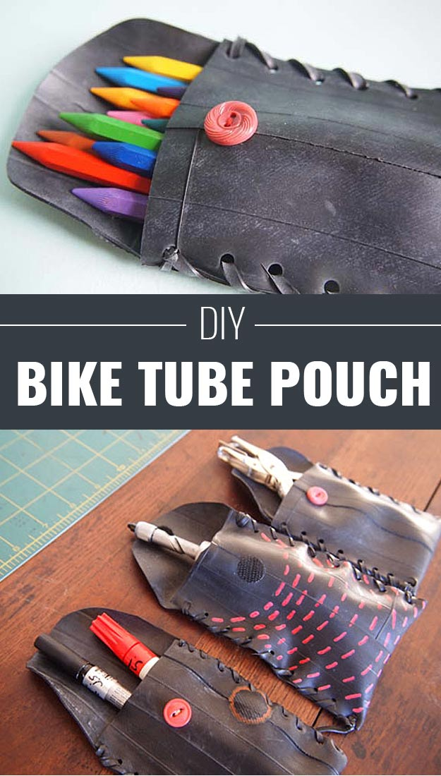 Cool Arts and Crafts Ideas for Teens, Kids and Even Adults | Cheap, Fun and Easy DIY Projects, Awesome Craft Tutorials for Teenagers | School, Home, Room Decor and Awesome Gift Ideas | Bike Tube Pouch | http://diyprojectsforteens.com/arts-and-crafts-ideas-for-teens