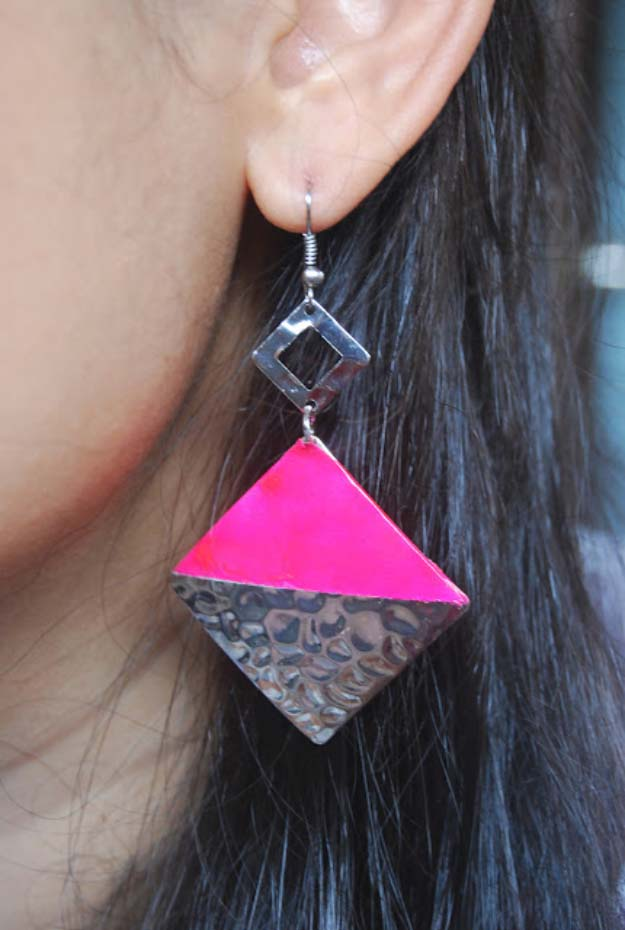 DIY Crafts Using Nail Polish - Fun, Cool, Easy and Cheap Craft Ideas for Girls, Teens, Tweens and Adults   DIY Colorblock Earrings