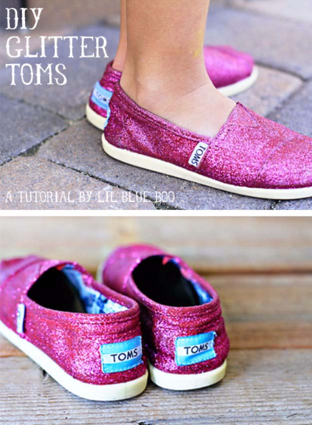 Cool DIY Crafts Made With Glitter - Sparkly, Creative Projects and Ideas for the Bedroom, Clothes, Shoes, Gifts, Wedding and Home Decor | DIY GLitter Toms | http://diyprojectsforteens.com/diy-projects-made-with-glitter/