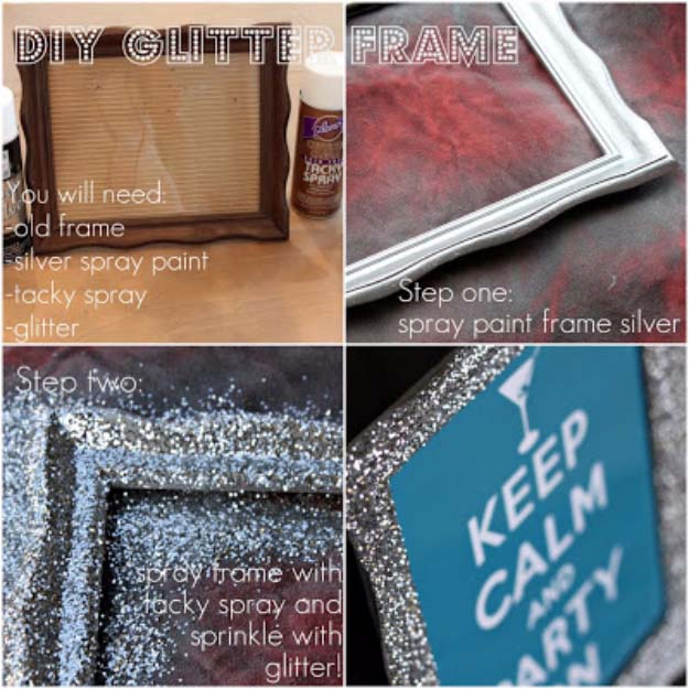Cool DIY Crafts Made With Glitter - Sparkly, Creative Projects and Ideas for the Bedroom, Clothes, Shoes, Gifts, Wedding and Home Decor | DIY Glitter Frame | http://diyprojectsforteens.com/diy-projects-made-with-glitter/