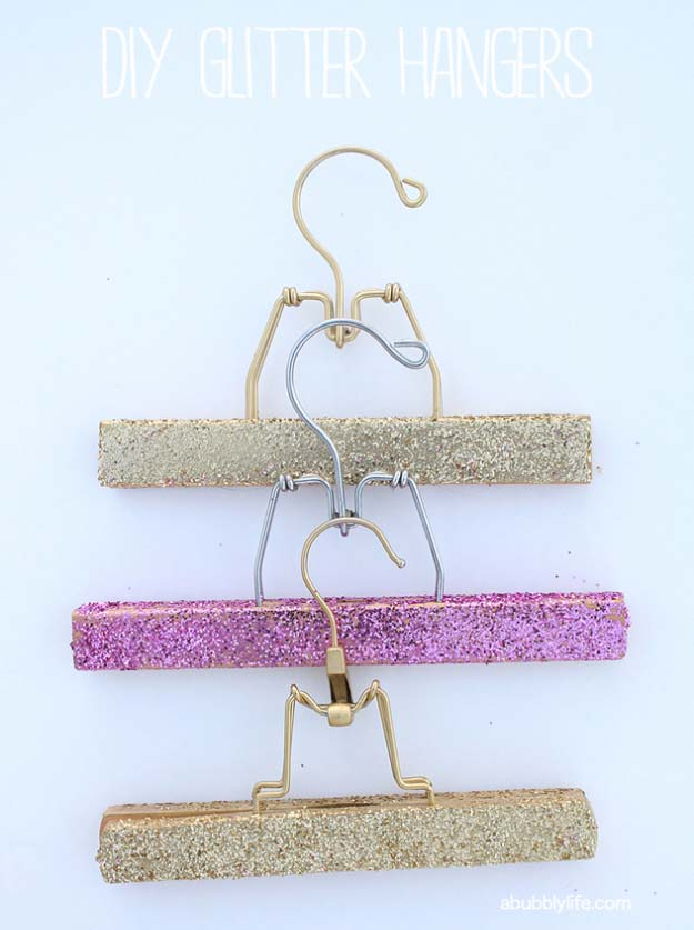 Cool DIY Crafts Made With Glitter - Sparkly, Creative Projects and Ideas for the Bedroom, Clothes, Shoes, Gifts, Wedding and Home Decor | DIY Glitter Hangers | http://diyprojectsforteens.com/diy-projects-made-with-glitter/