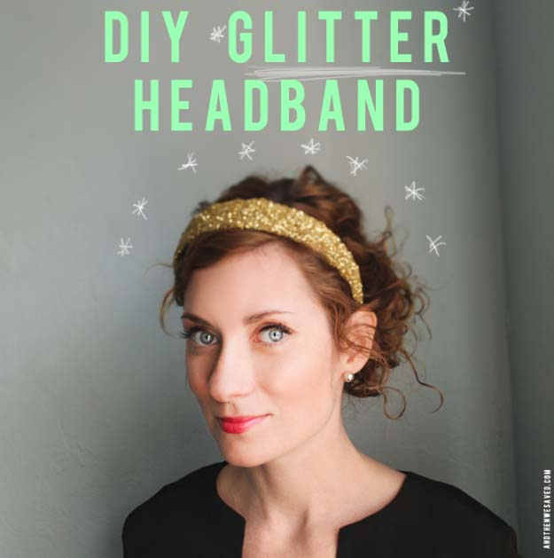 Cool DIY Crafts Made With Glitter - Sparkly, Creative Projects and Ideas for the Bedroom, Clothes, Shoes, Gifts, Wedding and Home Decor | DIY Glitter Headband #diyideas #glitter #crafts