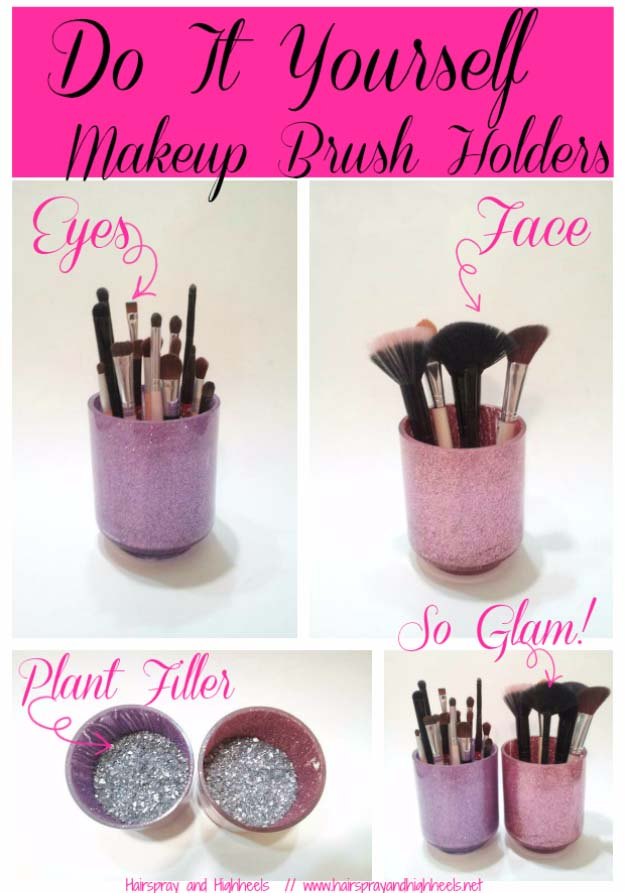 Cool DIY Crafts Made With Glitter - Sparkly, Creative Projects and Ideas for the Bedroom, Clothes, Shoes, Gifts, Wedding and Home Decor | DIY Glitter Make Up Brush Holders | http://diyprojectsforteens.com/diy-projects-made-with-glitter/