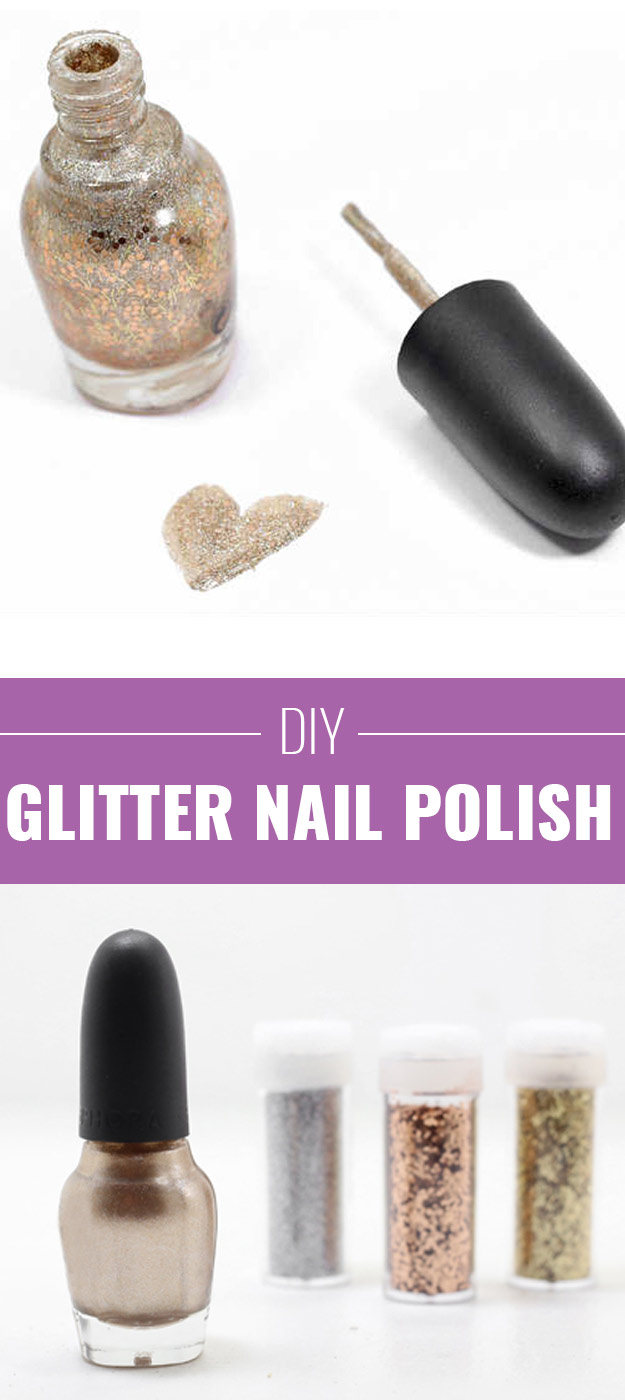 Cool DIY Crafts Made With Glitter - Sparkly, Creative Projects and Ideas for the Bedroom, Clothes, Shoes, Gifts, Wedding and Home Decor | DIY Glitter Nailpolish | http://diyprojectsforteens.com/diy-projects-made-with-glitter/