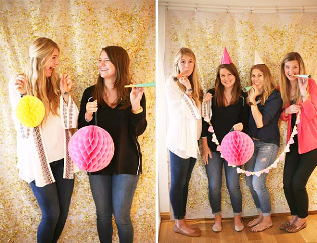 Cool DIY Crafts Made With Glitter - Sparkly, Creative Projects and Ideas for the Bedroom, Clothes, Shoes, Gifts, Wedding and Home Decor | DIY Glitter Photo Booth Backdrop #diyideas #glitter #crafts
