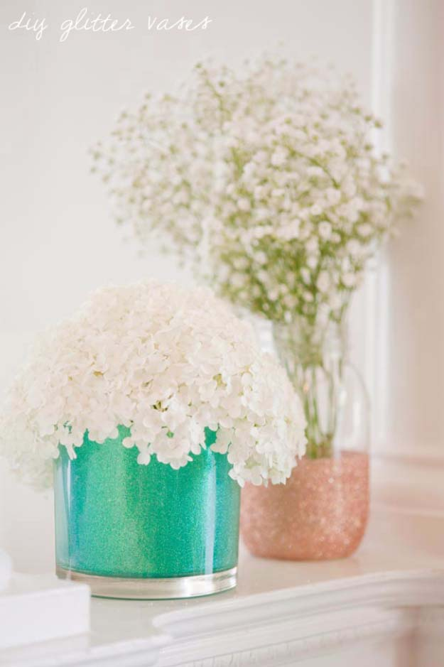 Cool DIY Crafts Made With Glitter - Sparkly, Creative Projects and Ideas for the Bedroom, Clothes, Shoes, Gifts, Wedding and Home Decor | DIY Glitter Vases | http://diyprojectsforteens.com/diy-projects-made-with-glitter/