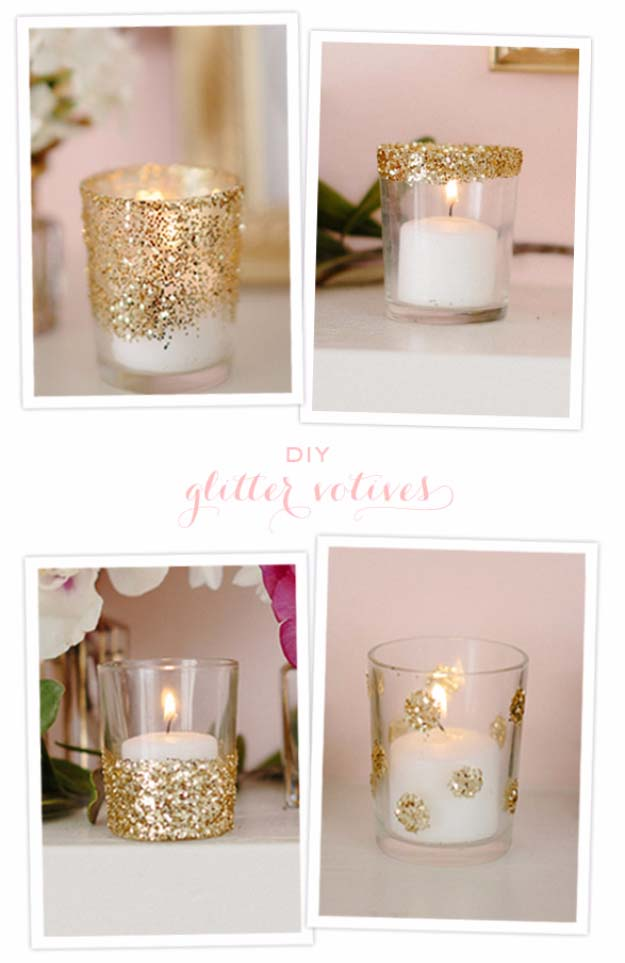 Cool DIY Crafts Made With Glitter - Sparkly, Creative Projects and Ideas for the Bedroom, Clothes, Shoes, Gifts, Wedding and Home Decor | DIY Glitter Votives #diyideas #glitter #crafts