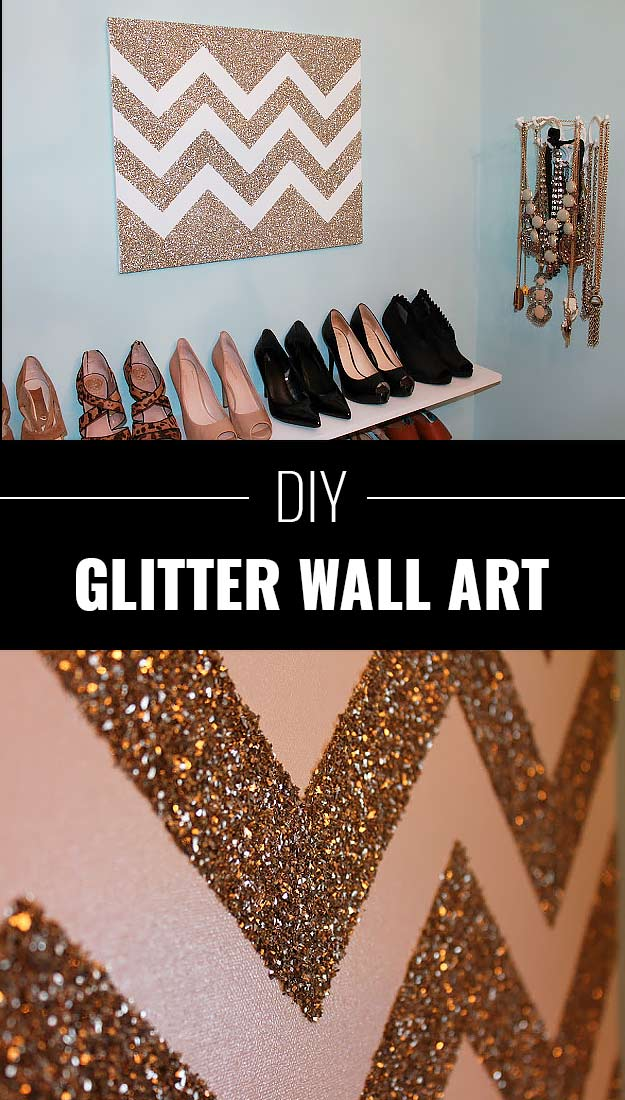 34 sparkly glittery diy crafts you 39 ll love for Diy wall decor projects