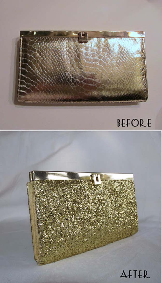 Cool DIY Crafts Made With Glitter - Sparkly, Creative Projects and Ideas for the Bedroom, Clothes, Shoes, Gifts, Wedding and Home Decor | DIY Gold Glitter Clutch | http://diyprojectsforteens.com/diy-projects-made-with-glitter/
