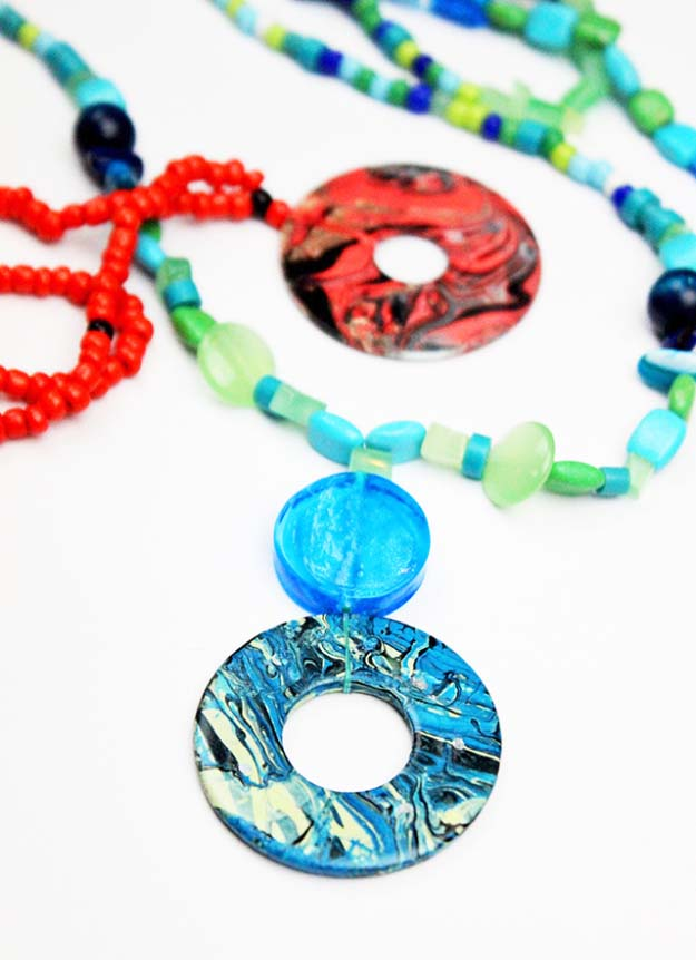 DIY Crafts Using Nail Polish - Fun, Cool, Easy and Cheap Craft Ideas for Girls, Teens, Tweens and Adults | DIY Nail Polish Marbleized Washer Necklace