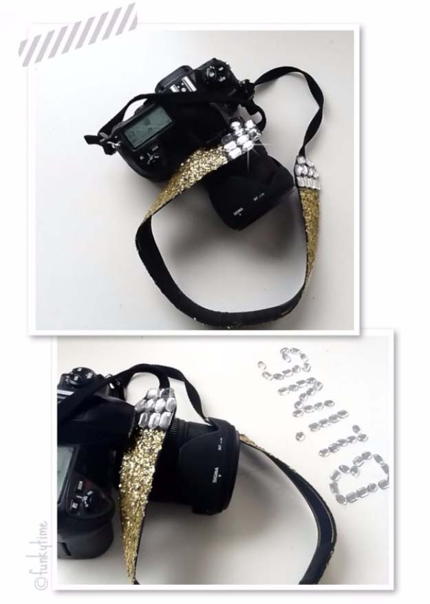 Cool DIY Crafts Made With Glitter - Sparkly, Creative Projects and Ideas for the Bedroom, Clothes, Shoes, Gifts, Wedding and Home Decor | Glitter Camera Strap | http://diyprojectsforteens.com/diy-projects-made-with-glitter/
