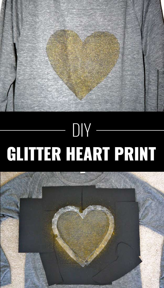Cool DIY Crafts Made With Glitter - Sparkly, Creative Projects and Ideas for the Bedroom, Clothes, Shoes, Gifts, Wedding and Home Decor | Glitter Heart Print | http://diyprojectsforteens.com/diy-projects-made-with-glitter/