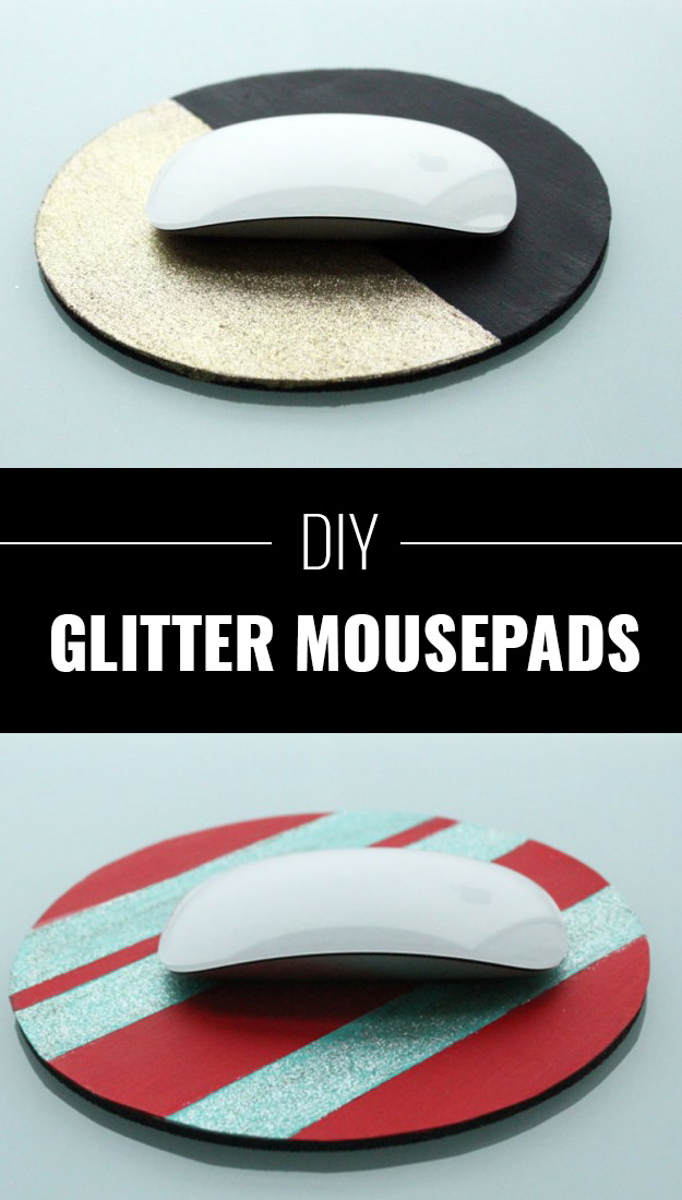 Cool DIY Crafts Made With Glitter - Sparkly, Creative Projects and Ideas for the Bedroom, Clothes, Shoes, Gifts, Wedding and Home Decor | Glitter Mousepads | http://diyprojectsforteens.com/diy-projects-made-with-glitter/