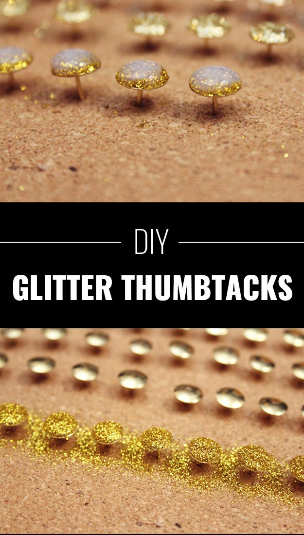 Cool DIY Crafts Made With Glitter - Sparkly, Creative Projects and Ideas for the Bedroom, Clothes, Shoes, Gifts, Wedding and Home Decor | Glitter Thumbtacks | http://diyprojectsforteens.com/diy-projects-made-with-glitter/
