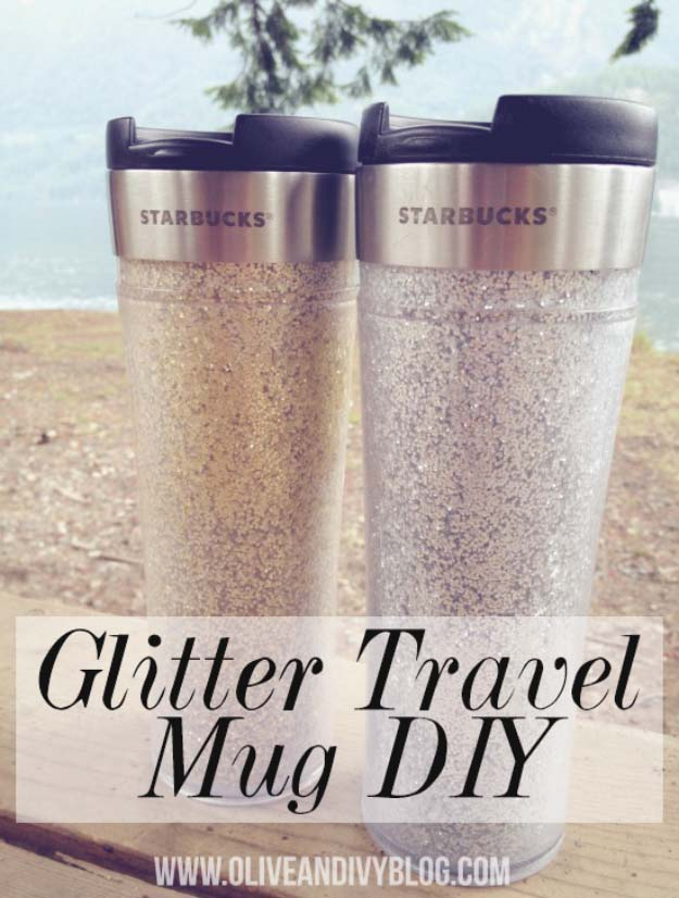 Cool DIY Crafts Made With Glitter - Sparkly, Creative Projects and Ideas for the Bedroom, Clothes, Shoes, Gifts, Wedding and Home Decor | Glitter Travel Mug | http://diyprojectsforteens.com/diy-projects-made-with-glitter/