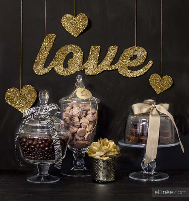 Cool DIY Crafts Made With Glitter - Sparkly, Creative Projects and Ideas for the Bedroom, Clothes, Shoes, Gifts, Wedding and Home Decor | Glittered Love Banner | http://diyprojectsforteens.com/diy-projects-made-with-glitter/