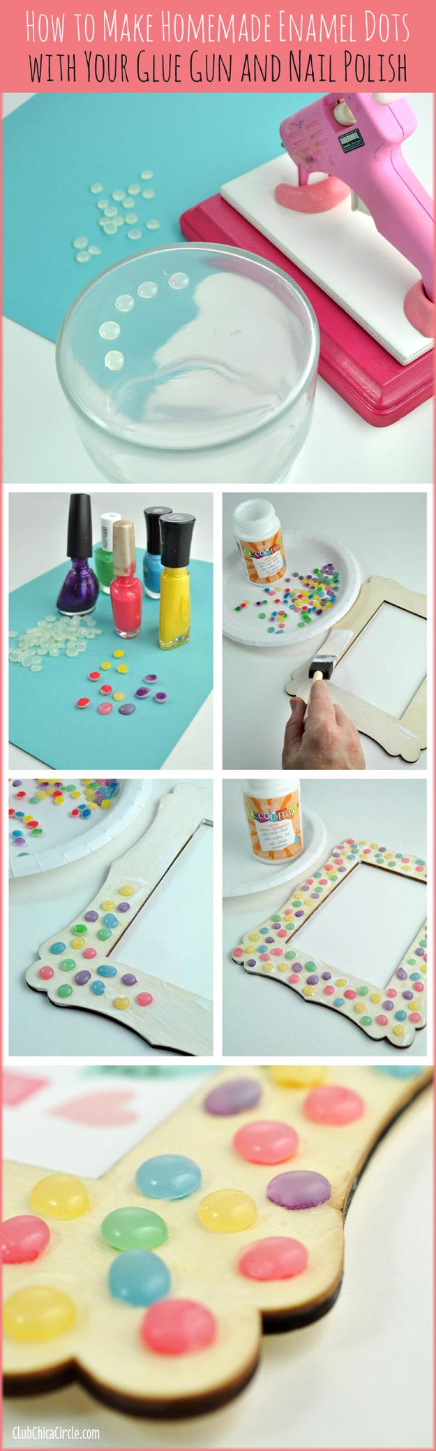 DIY Crafts Using Nail Polish - Fun, Cool, Easy and Cheap Craft Ideas for Girls, Teens, Tweens and Adults | Homemade Enamel Dots With Glue Gun