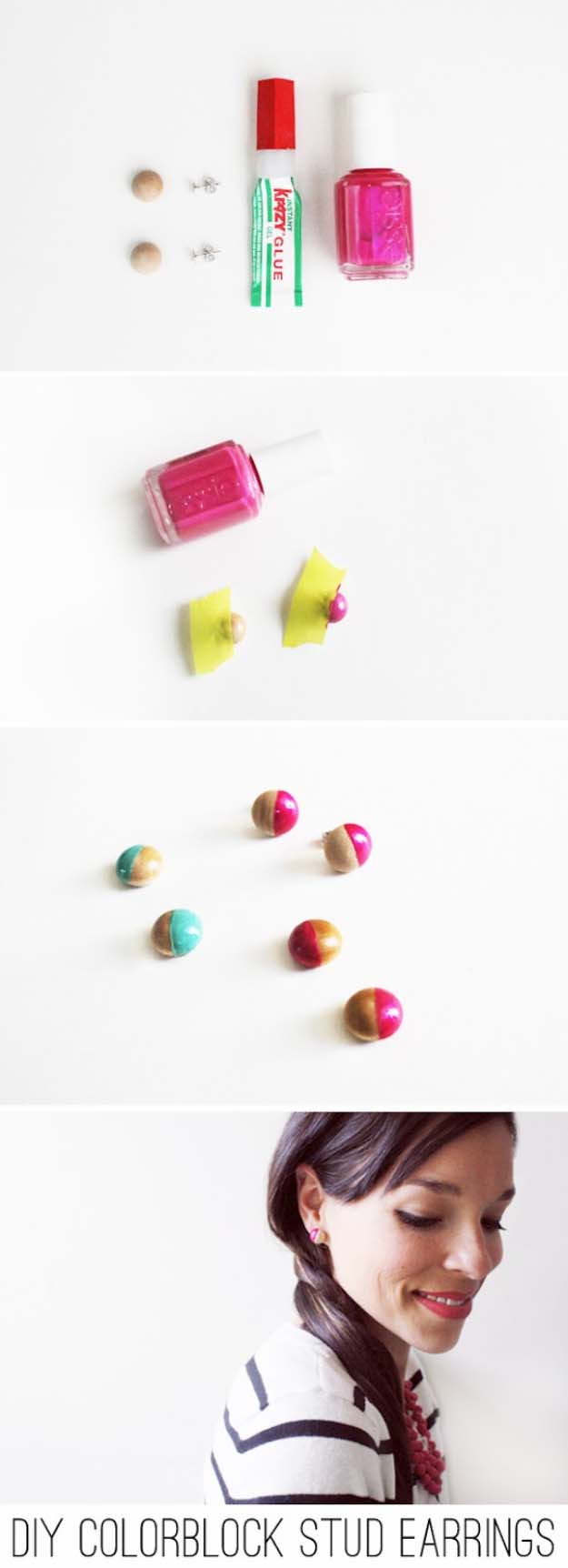 DIY Crafts Using Nail Polish - Fun, Cool, Easy and Cheap Craft Ideas for Girls, Teens, Tweens and Adults | Kate Spade Inspired Colorblock Stud Earrings