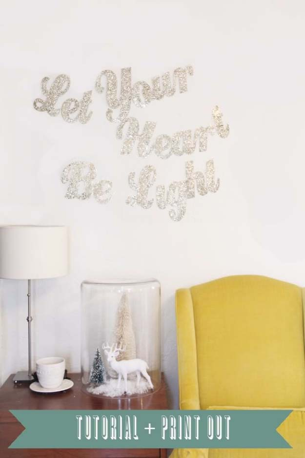 Cool DIY Crafts Made With Glitter - Sparkly, Creative Projects and Ideas for the Bedroom, Clothes, Shoes, Gifts, Wedding and Home Decor | Lyrics Glitter Banner #diyideas #glitter #crafts