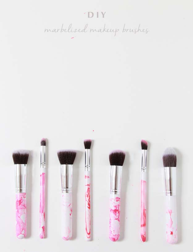 DIY Crafts Using Nail Polish - Fun, Cool, Easy and Cheap Craft Ideas for Girls, Teens, Tweens and Adults   DIY Marbled Makeup Brushes