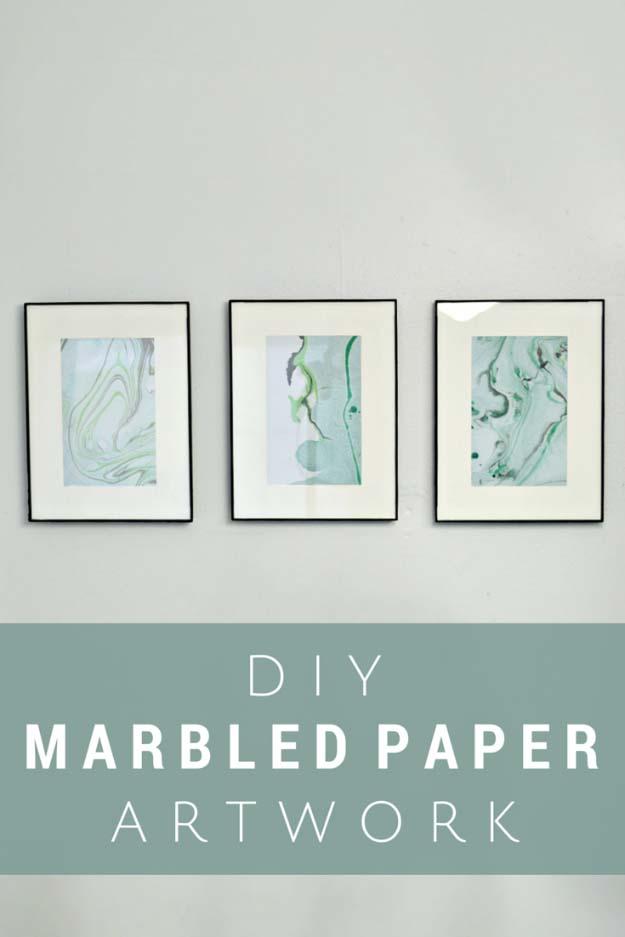 DIY Crafts Using Nail Polish - Fun, Cool, Easy and Cheap Craft Ideas for Girls, Teens, Tweens and Adults   DIY Marbled Paper Art Using Nail Polish