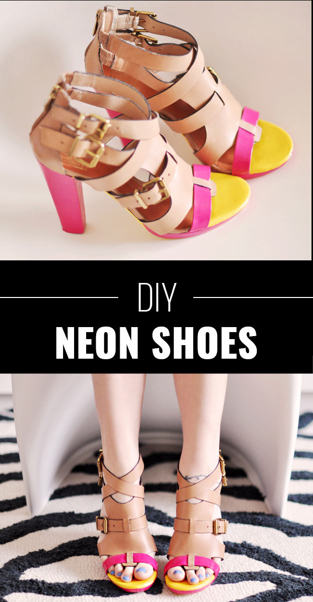 DIY Crafts Using Nail Polish - Fun, Cool, Easy and Cheap Craft Ideas for Girls, Teens, Tweens and Adults | DIY Painted Neon Shoes