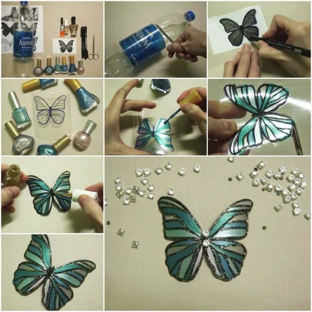 DIY Crafts Using Nail Polish - Fun, Cool, Easy and Cheap Craft Ideas for Girls, Teens, Tweens and Adults | Nail Polish Butterfly Art