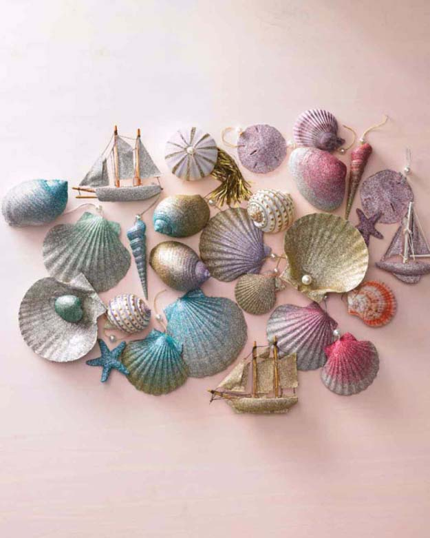 Cool DIY Crafts Made With Glitter - Sparkly, Creative Projects and Ideas for the Bedroom, Clothes, Shoes, Gifts, Wedding and Home Decor | Ombre Glittered Sea Shell Ornaments | http://diyprojectsforteens.com/diy-projects-made-with-glitter/