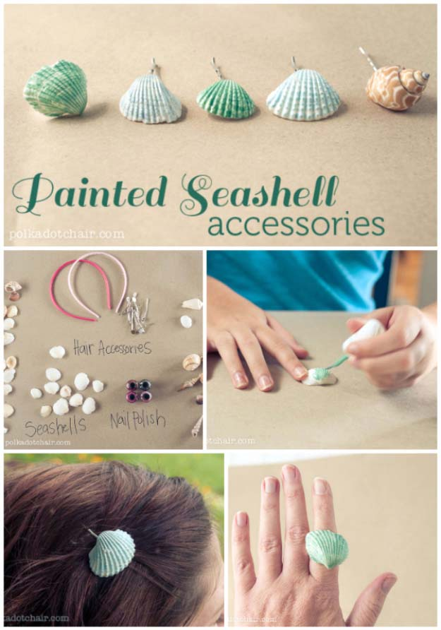 DIY Crafts Using Nail Polish - Fun, Cool, Easy and Cheap Craft Ideas for Girls, Teens, Tweens and Adults   DIY Sea Shell Accessories