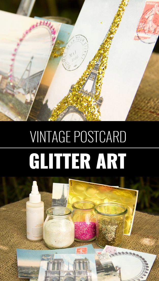 Cool DIY Crafts Made With Glitter - Sparkly, Creative Projects and Ideas for the Bedroom, Clothes, Shoes, Gifts, Wedding and Home Decor | Vintage Postcard Glitter Art | http://diyprojectsforteens.com/diy-projects-made-with-glitter/