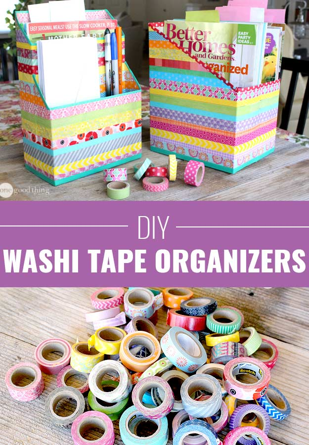 Washi Tape Cereal Box Organizers