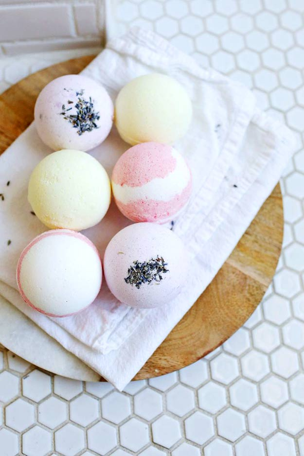 Pretty Homemade Bath Bombs Make Awesome DIY Gift Ideas for Women and Teenage Girls | Tutorials and Recipe Ideas for Easy Projects | DIY Projects and Crafts by DIY JOY