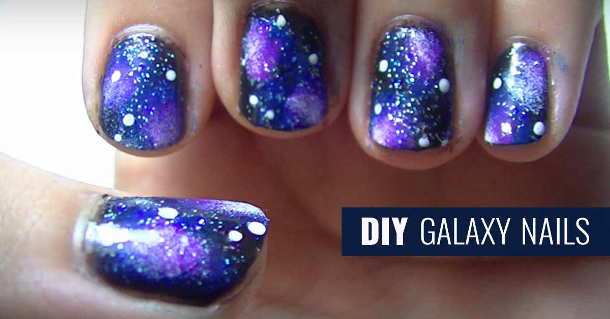 Diy Galaxy Nails Tutorial Youtube