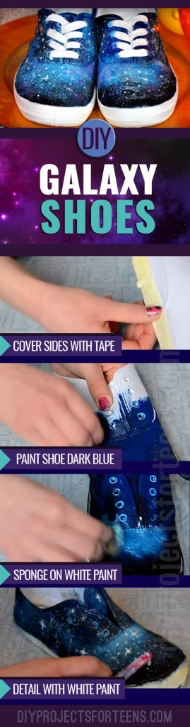 Cool Crafts for Teens to Make - Fun DIY Idea for Galaxy Shoes - Teenagers and Tweens Love this Awesome Craft Project
