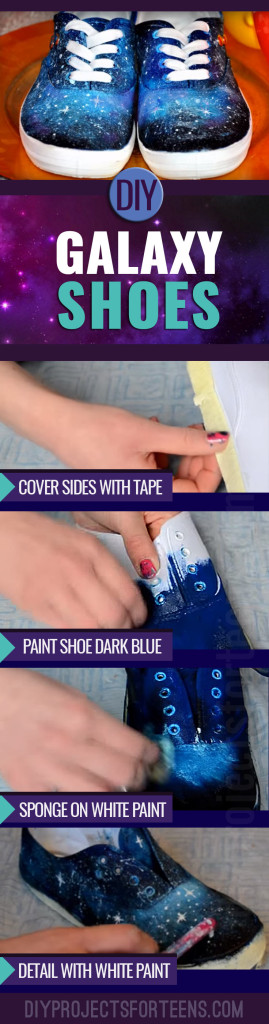 DIY Galaxy Shoes Tutorial - Cool Clothes to Make for Teens - Creative Fashion Ideas to DIY - Cheap Sneaker Makeover Ideas