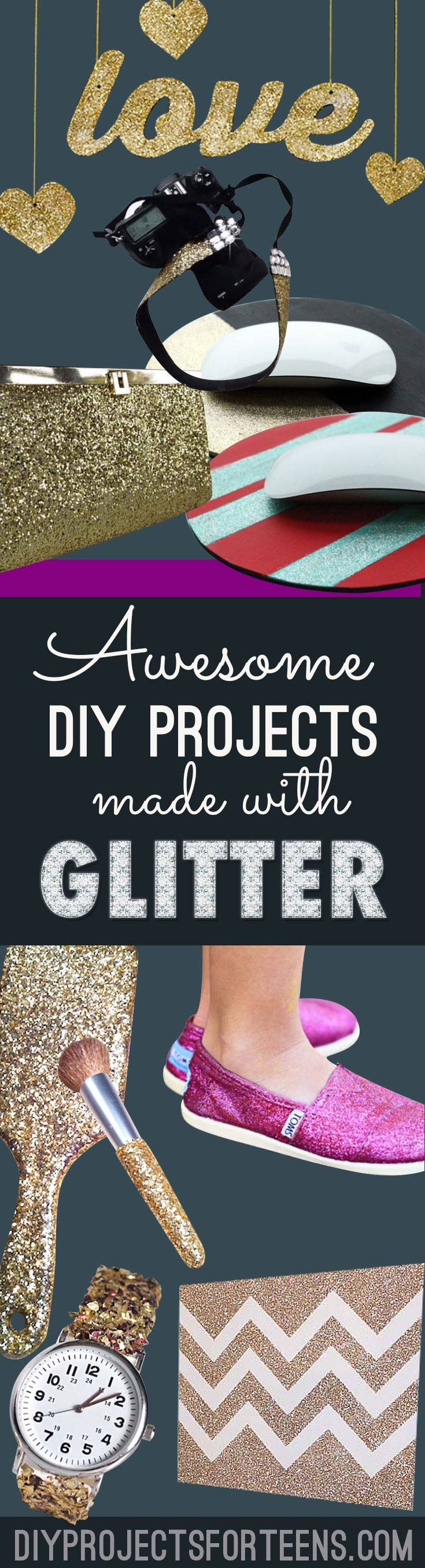 Cool DIY Crafts Made With Glitter - Sparkly, Creative Projects and Ideas for the Bedroom, Clothes, Shoes, Gifts, Wedding and Home Decor | Easy Teen Crafts, Gifts and Room Decor Ideas
