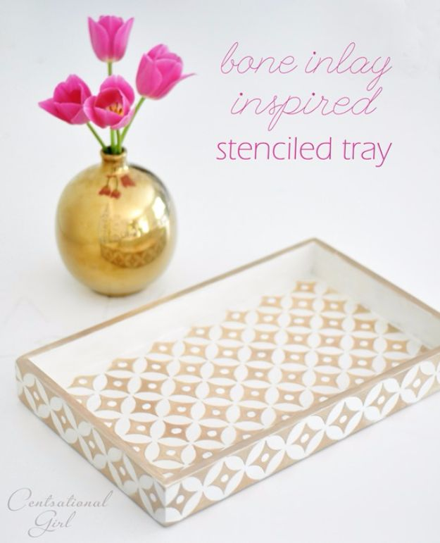 DIY Teen Room Decor Ideas for Girls | DIY Bone Inlay Inspired Tray | Cool Bedroom Decor, Wall Art & Signs, Crafts, Bedding, Fun Do It Yourself Projects and Room Ideas for Small Spaces #diydecor #teendecor #roomdecor #teens #girlsroom