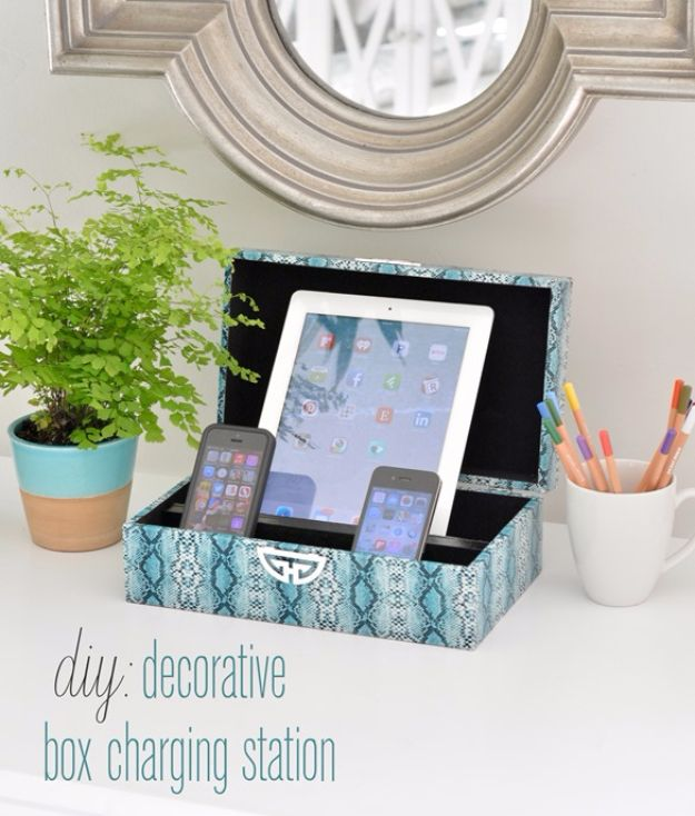 DIY Teen Room Decor Ideas for Girls | DIY Decorative Box Charging Station | Cool Bedroom Decor, Wall Art & Signs, Crafts, Bedding, Fun Do It Yourself Projects and Room Ideas for Small Spaces #diydecor #teendecor #roomdecor #teens #girlsroom