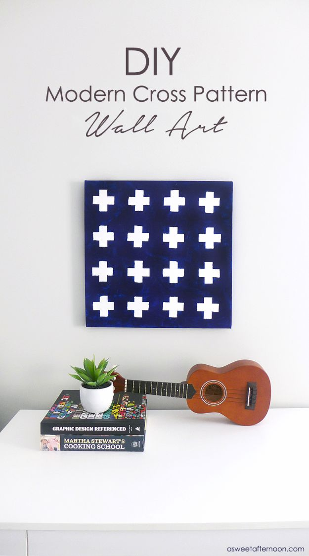 DIY Teen Room Decor Ideas for Girls | DIY Modern Cross Pattern Wall Art | Cool Bedroom Decor, Wall Art & Signs, Crafts, Bedding, Fun Do It Yourself Projects and Room Ideas for Small Spaces #diydecor #teendecor #roomdecor #teens #girlsroom