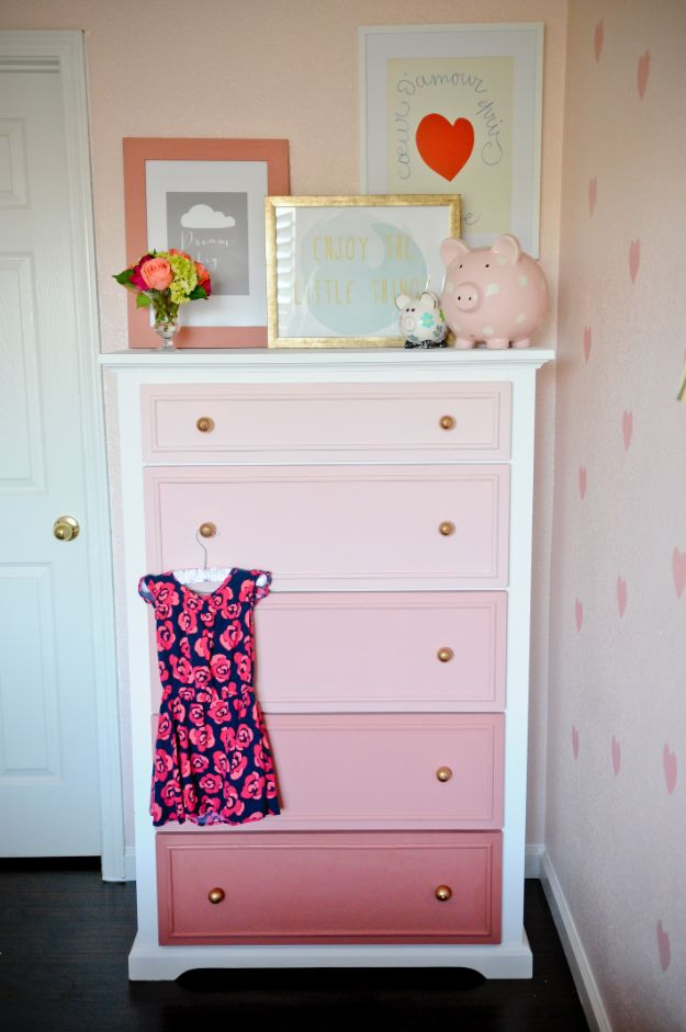 DIY Teen Room Decor Ideas For Girls | DIY Ombre Dresser | Cool Bedroom Decor ,